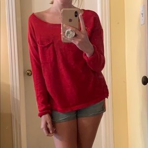 Sheer Red Top with Pocket
